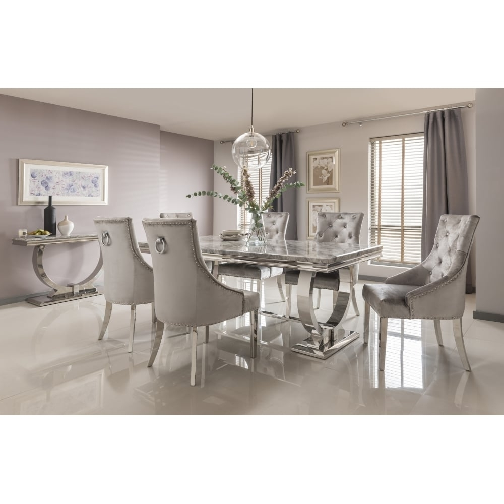 Fashionable Arianna Marble Dining Table Set In Grey – Dining Room From Breeze With Dining Tables With Grey Chairs (View 2 of 25)