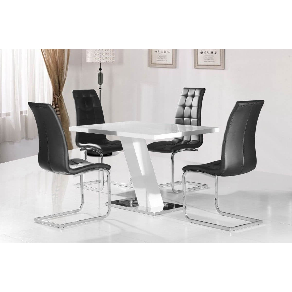 Fashionable Arizona White High Gloss Dining Set (View 1 of 25)