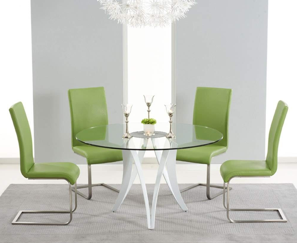 Fashionable Bellevue 130Cm Round Glass Dining Table With 4 Malibu Green Leather Throughout Green Dining Tables (View 4 of 25)