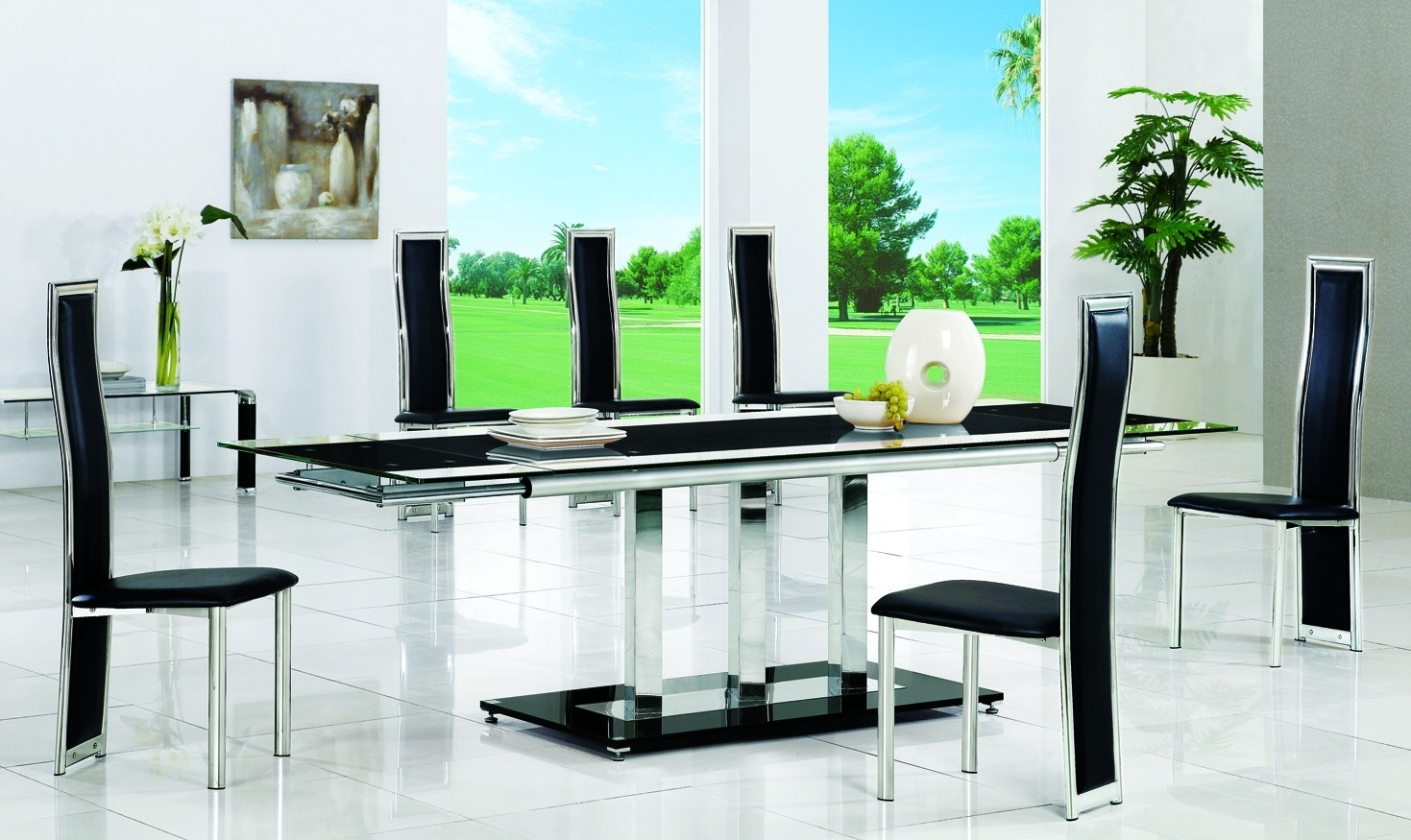 Fashionable Black 8 Seater Dining Tables With Regard To Amusing Glass Dining Table Design Featuring Rectangle Shape Pedestal (View 21 of 25)