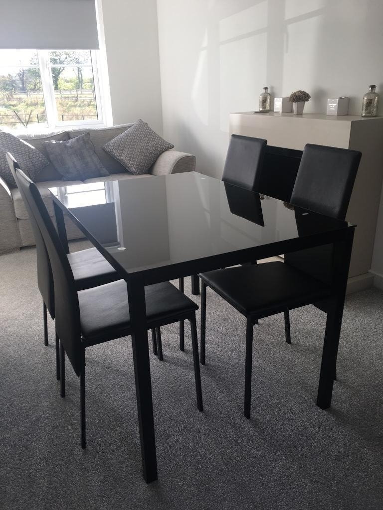 Fashionable Black Glass Dining Tables And 4 Chairs In Black Glass Dining Table 4 Chairs, Argos (View 20 of 25)