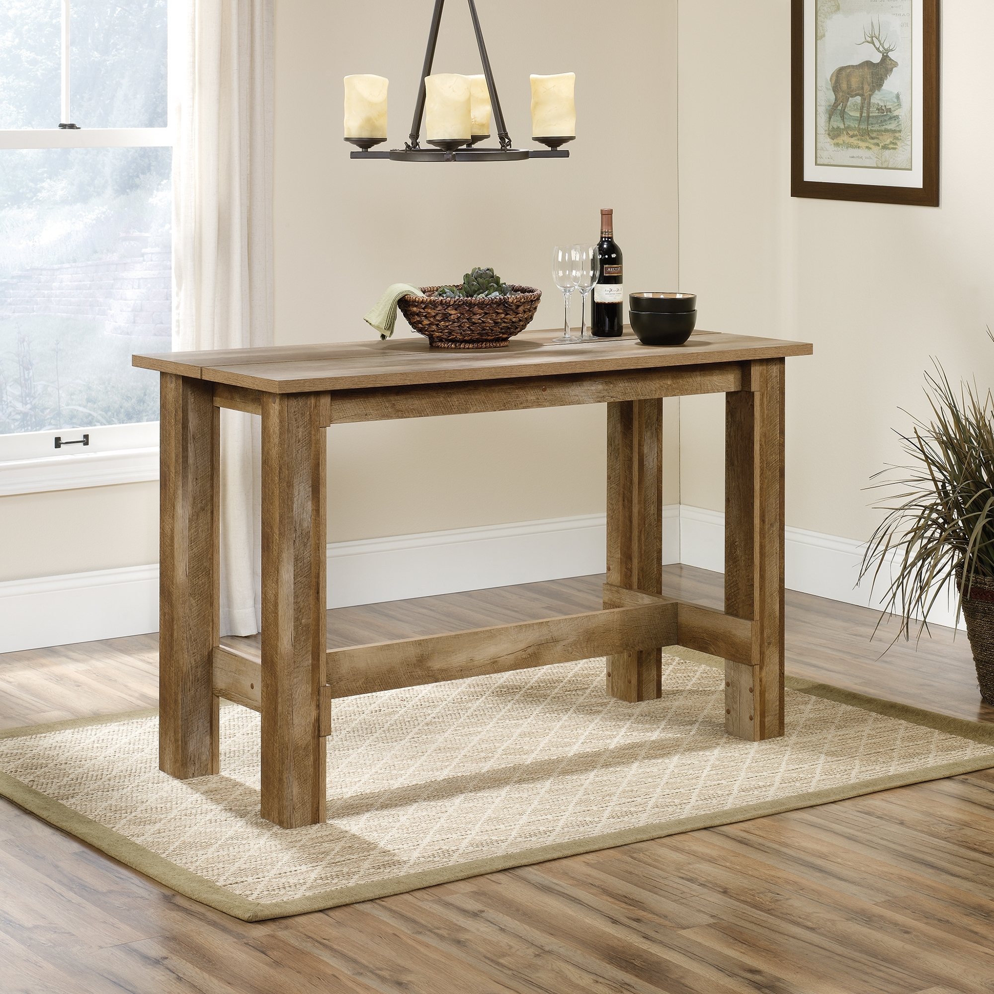 Fashionable Boone Mountain Counter  Height Dinette Table (416698) – Sauder For Craftsman Rectangle Extension Dining Tables (View 15 of 25)