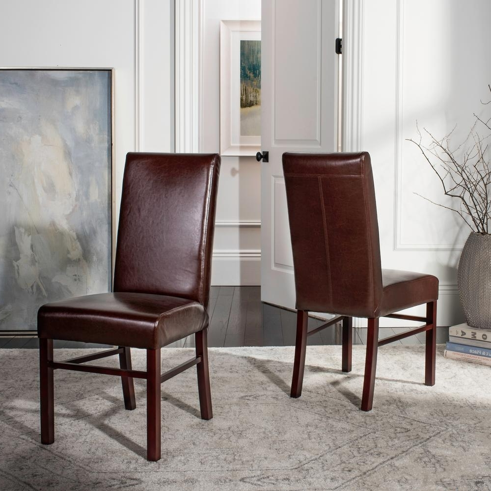 Fashionable Brown Leather Dining Chairs With Regard To Safavieh Brown Leather Dining Chair (Set Of 2) Hud8205A Set2 – The (View 21 of 25)