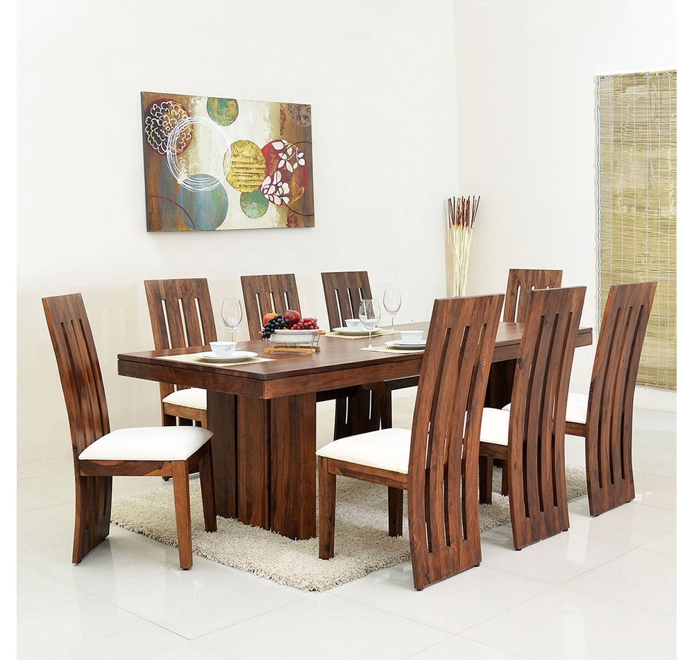 Fashionable Buy Delmonte 8 Seater Dining Kit – @home Nilkamal, Walnut Online Within Eight Seater Dining Tables And Chairs (View 9 of 25)