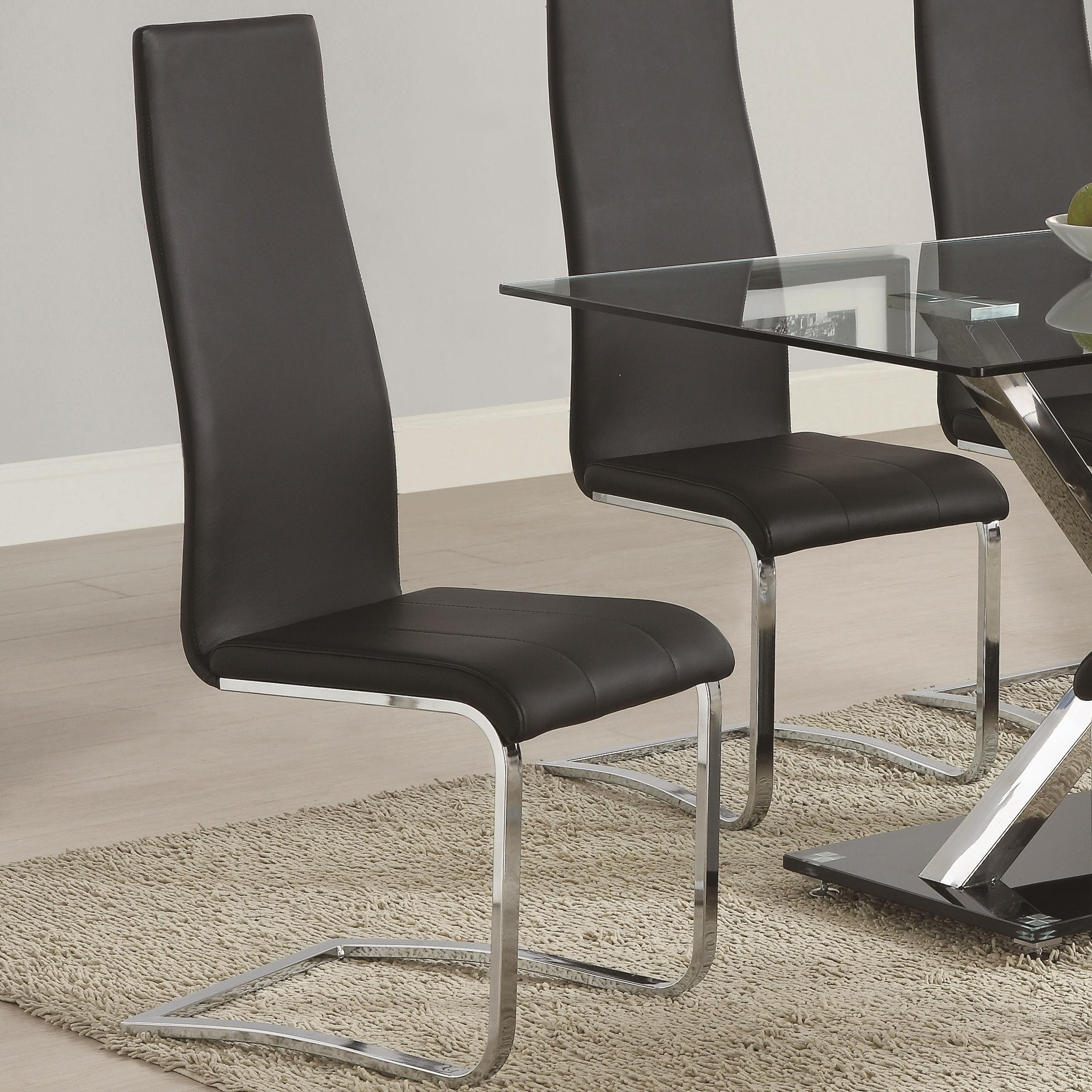 Fashionable Buy Set Of 4 Modern Dining Black Faux Leather Dining Chairs With Regarding Chrome Leather Dining Chairs (View 15 of 25)