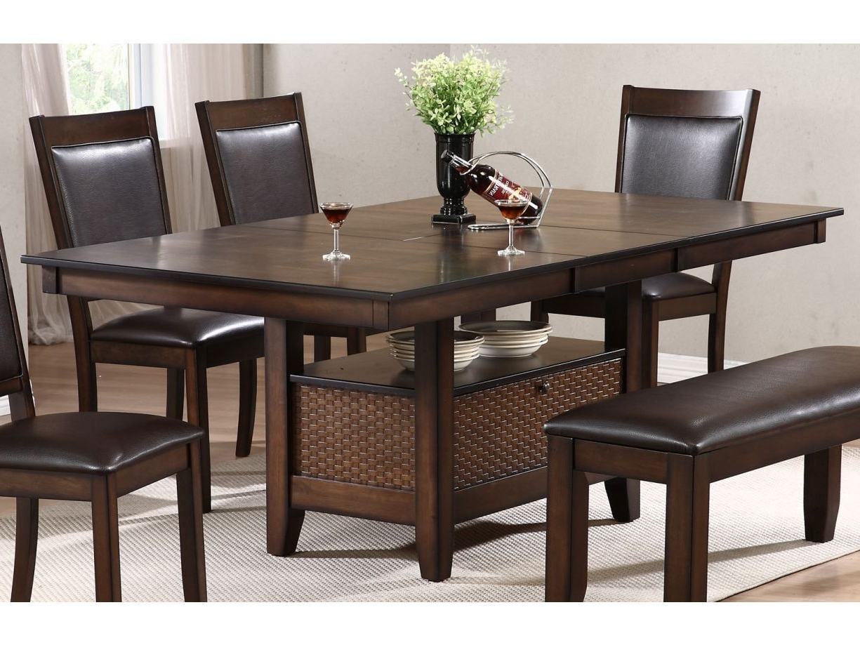 Fashionable Carly Rectangle Dining Tables With Urban Styles Winchester 7Pc Rectangular Dining Set In Cappuccino (View 16 of 25)