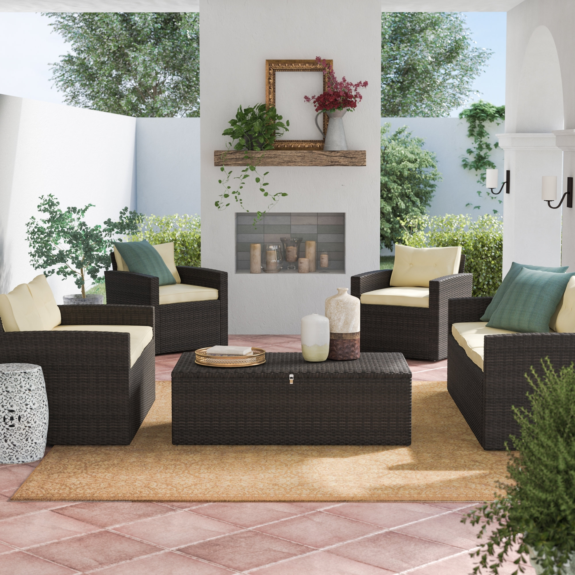 Fashionable Charlton Home Garmon 5 Piece Sofa Set With Cushions (View 7 of 25)