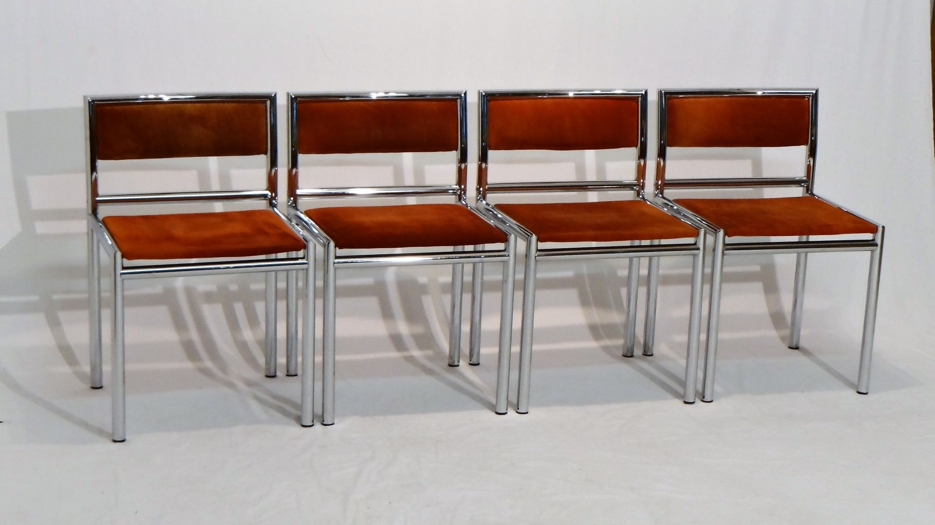 Fashionable Chrome Dining Chairs With Mid Century Dining Chairs In Tubular Chrome And Leather, Set Of  (View 13 of 25)