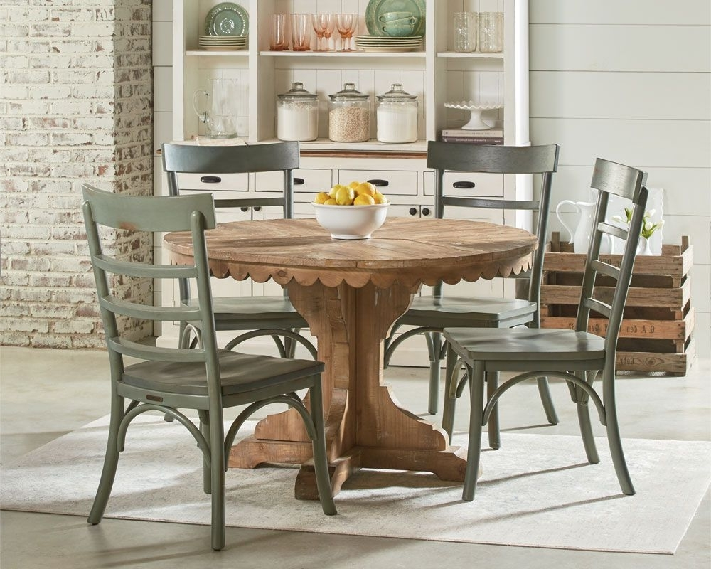 Fashionable Combs 5 Piece Dining Sets With  Mindy Slipcovered Chairs Pertaining To Magnolia Home – Top Tier Pedestal Table Setting (View 10 of 25)