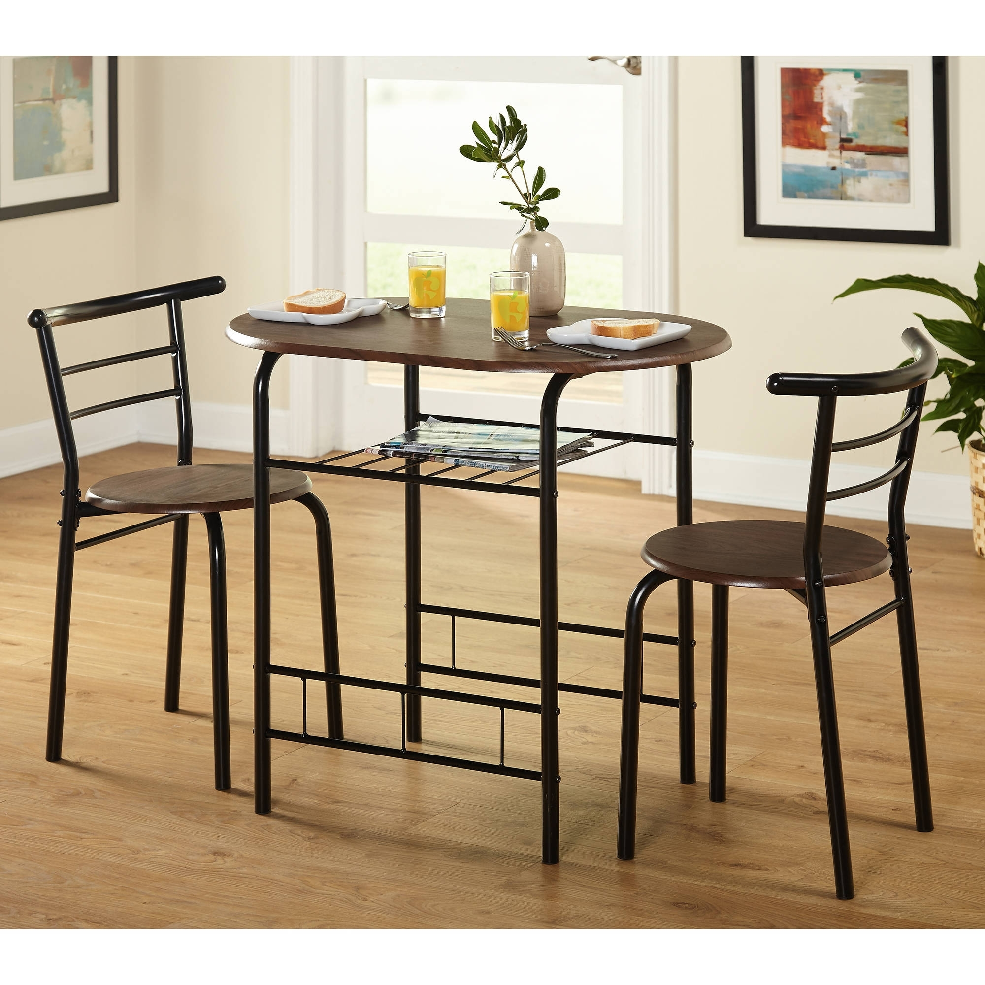 Fashionable Compact Dining Room Sets Throughout Tms 3 Piece Bistro Dining Set – Walmart (View 11 of 25)