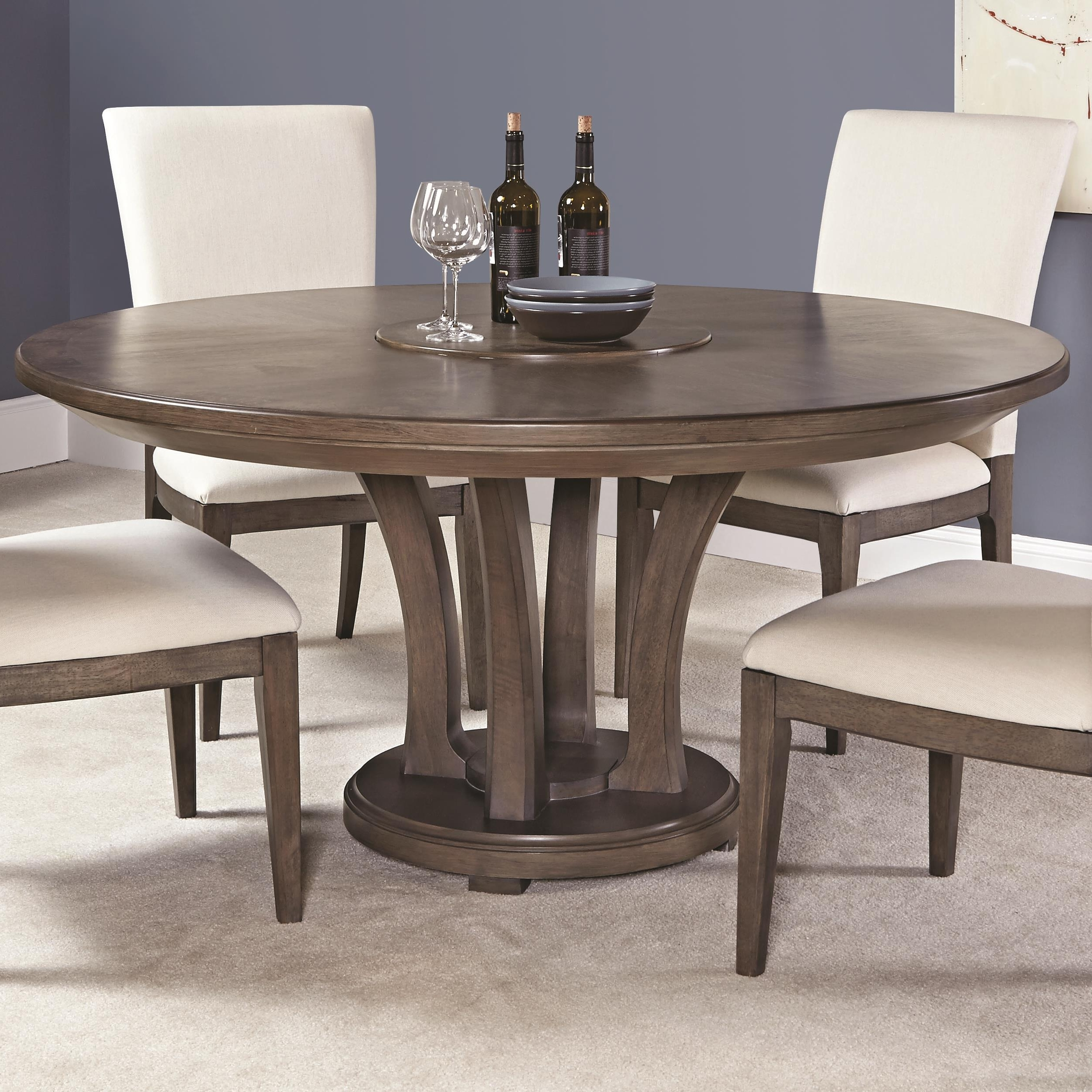 Fashionable Contemporary 62 Inch Round Dining Table With Trestle Base Pertaining To Contemporary Base Dining Tables (View 12 of 25)