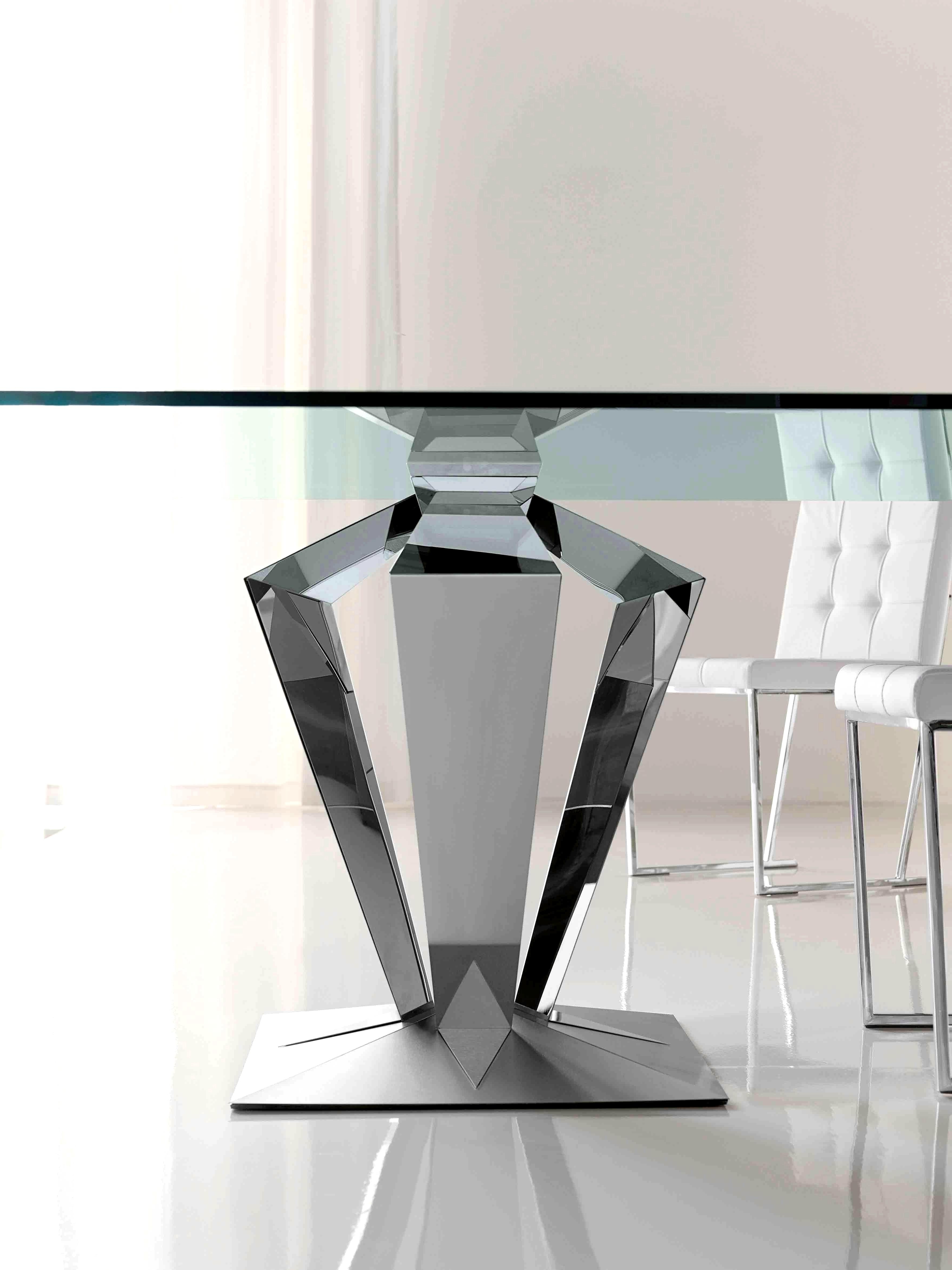Fashionable Contemporary Base Dining Tables With Regard To Charming Chrome Base Contemporary Dining Tables Ideas Ideas Tasty (View 13 of 25)