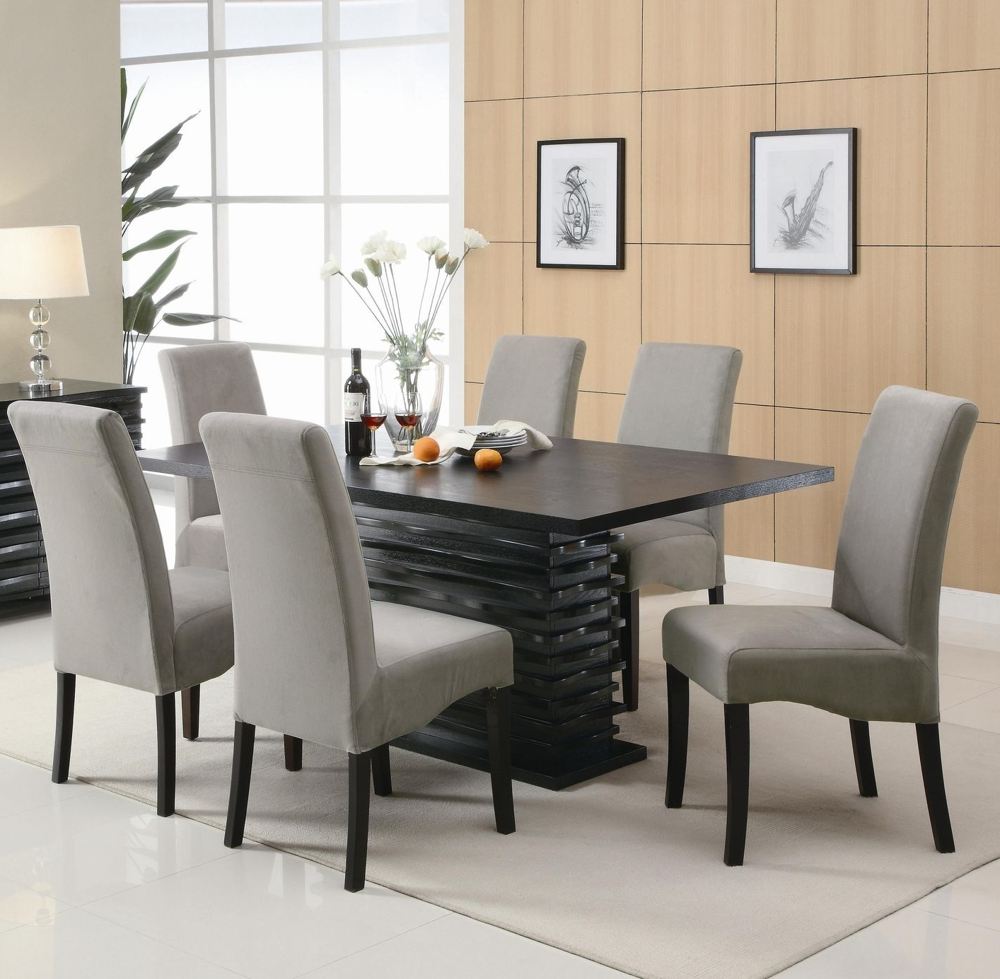 Fashionable Contemporary Dining Room Tables And Chairs With Regard To Stanton Black And Green Wood Dining Table Set – Steal A Sofa (View 18 of 25)