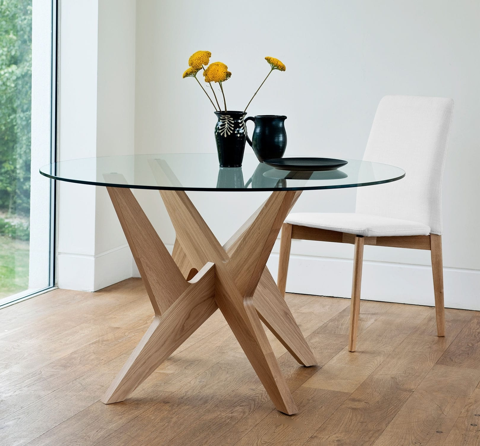 Fashionable Contemporary Dining Table / Glass / Oak / Round – Cross Side Within Glass Oak Dining Tables (View 7 of 25)