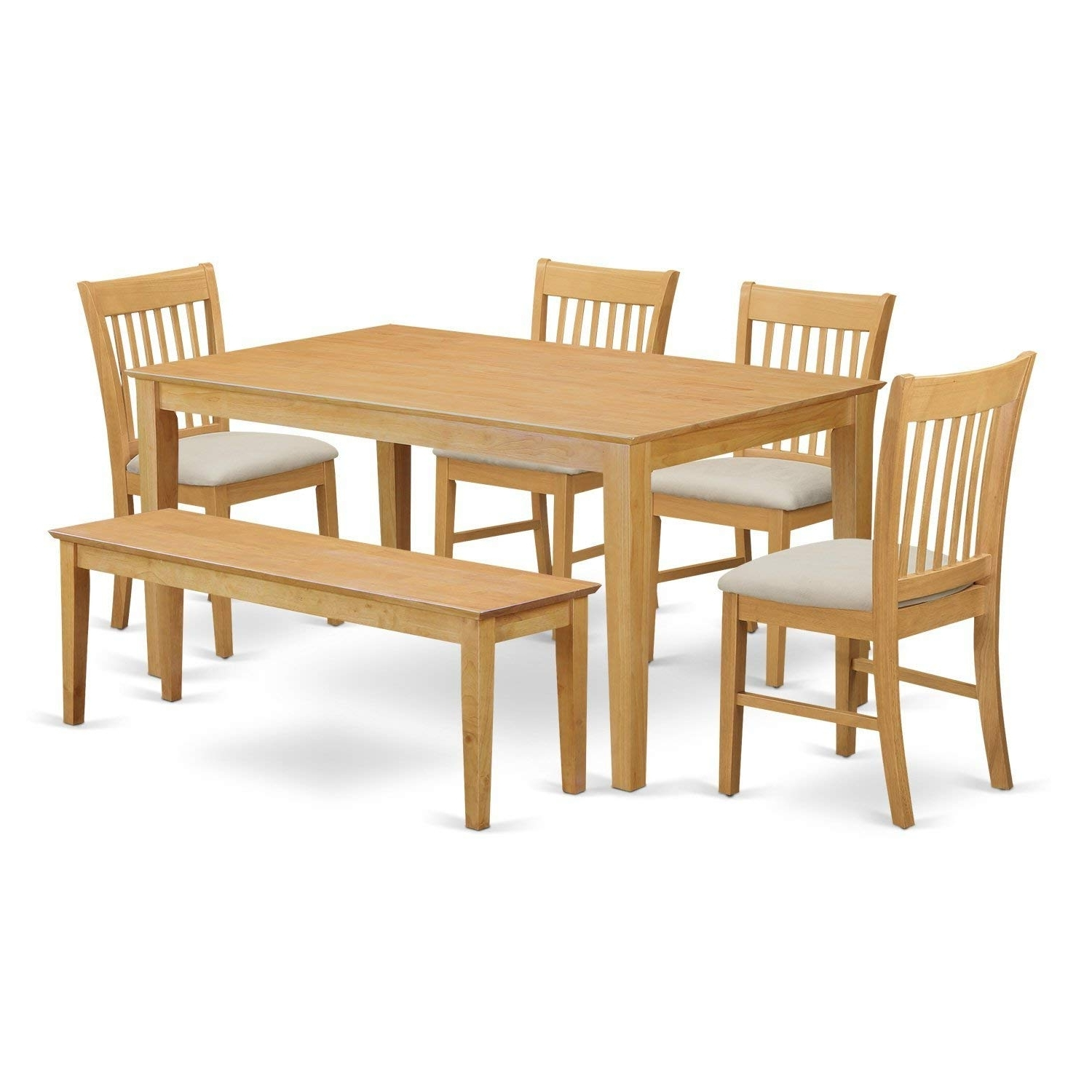 Fashionable Craftsman 5 Piece Round Dining Sets With Side Chairs Intended For Amazon: East West Furniture Cano6 Oak W 6 Piece Dining Table Set (View 9 of 25)