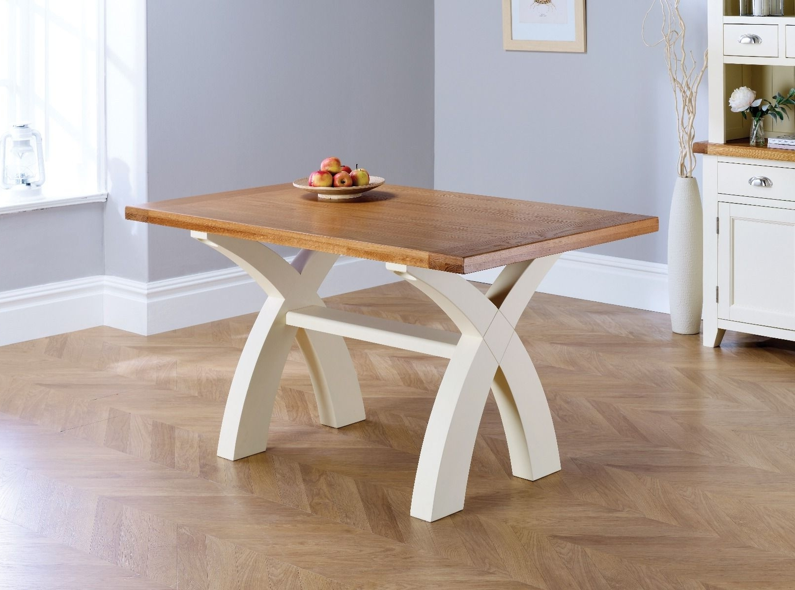 Fashionable Cream And Wood Dining Tables Inside Country Oak 140Cm Cream Painted Cross Leg Square Ended Dining Table (View 22 of 25)