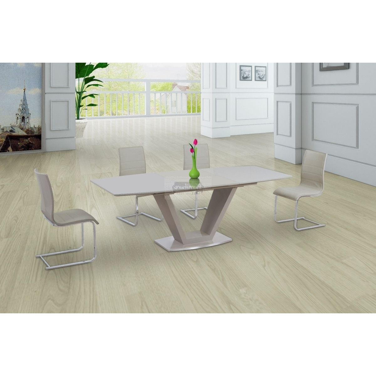 Fashionable Cream Gloss Dining Tables And Chairs Throughout Lorgato Gelato Cream High Gloss Extending Dining Table – 160Cm To (View 17 of 25)