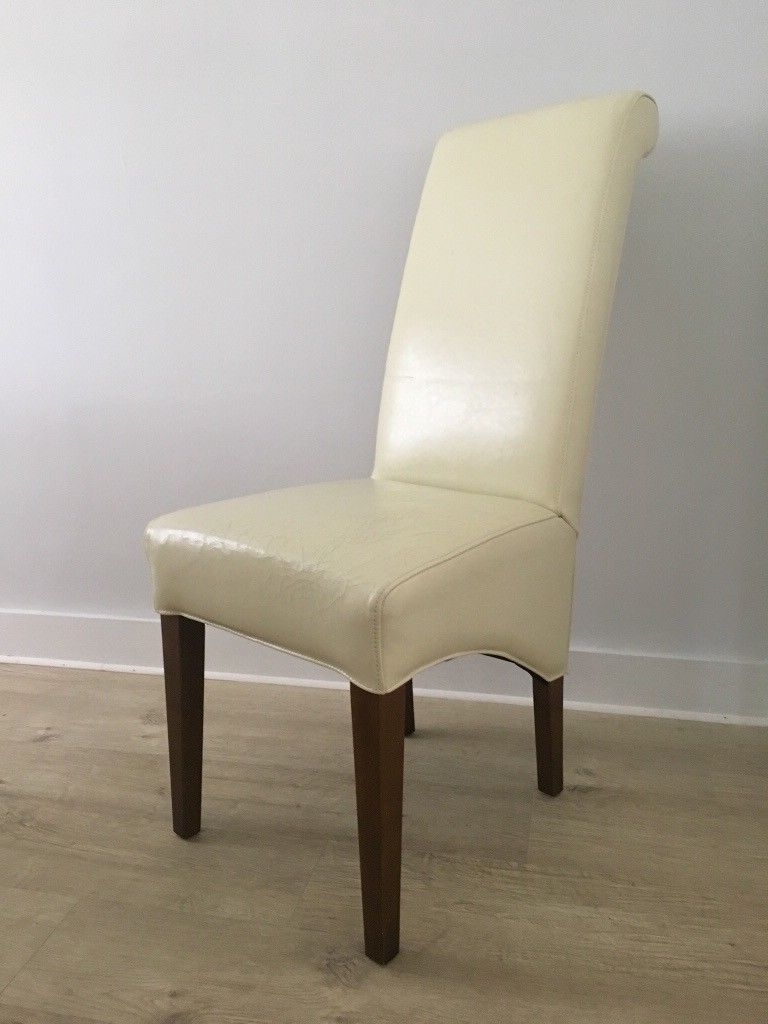 Fashionable Cream Leather Dining Chairs X  (View 14 of 25)