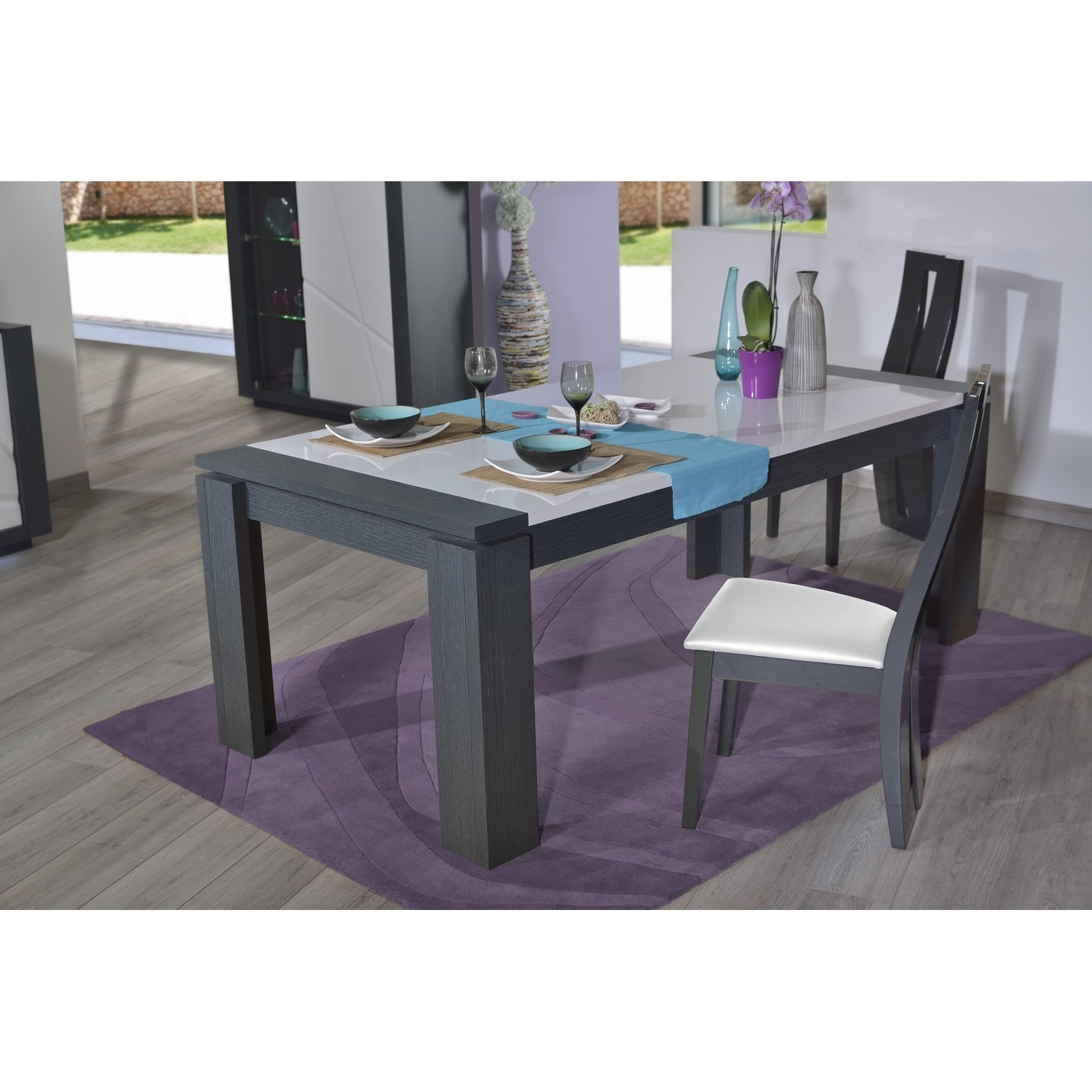 Fashionable Dark Wood Extending Dining Tables With Quartz Extendable Dining Table With Dark Wood Body – Dining Tables (View 2 of 25)