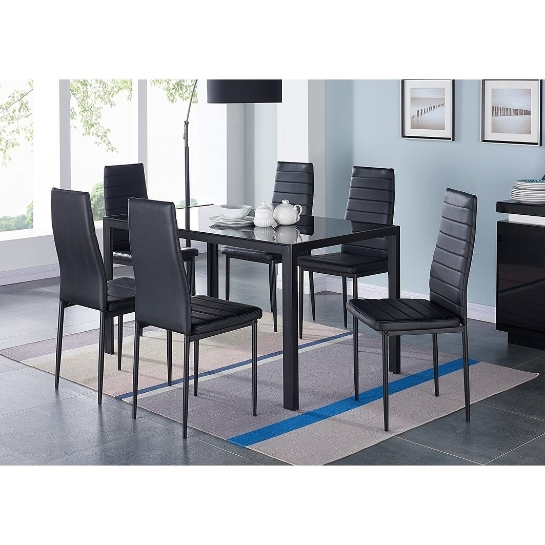 Fashionable Dining Table Sets With 6 Chairs Inside Shop Ids Home 7 Pieces Modern Glass Dining Table Set Faxu Leather (View 13 of 25)