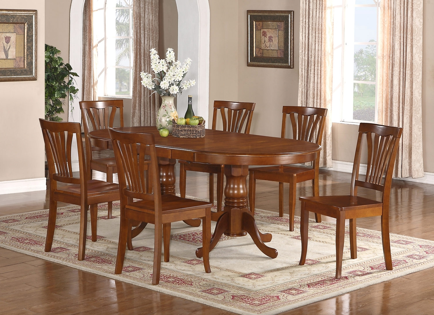 Fashionable Dining Table Sets With 6 Chairs Intended For 7Pc Oval Newton Dining Room Set Extension Leaf Table 6 Chairs  (View 14 of 25)