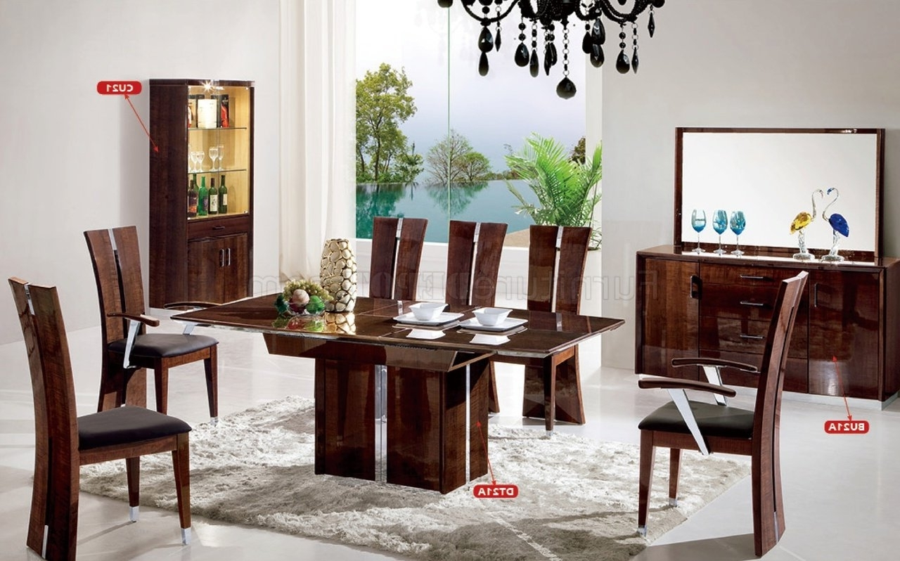 Fashionable Dt21A Dining Room 10Pc Set In Dark Brown High Glosspantek For Gloss Dining Tables Sets (View 8 of 25)