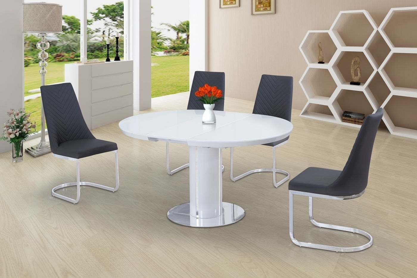 Fashionable Eclipse Round Oval Gloss & Glass Extending 110 To 145 Cm Dining Within Round Dining Tables Extends To Oval (View 9 of 25)
