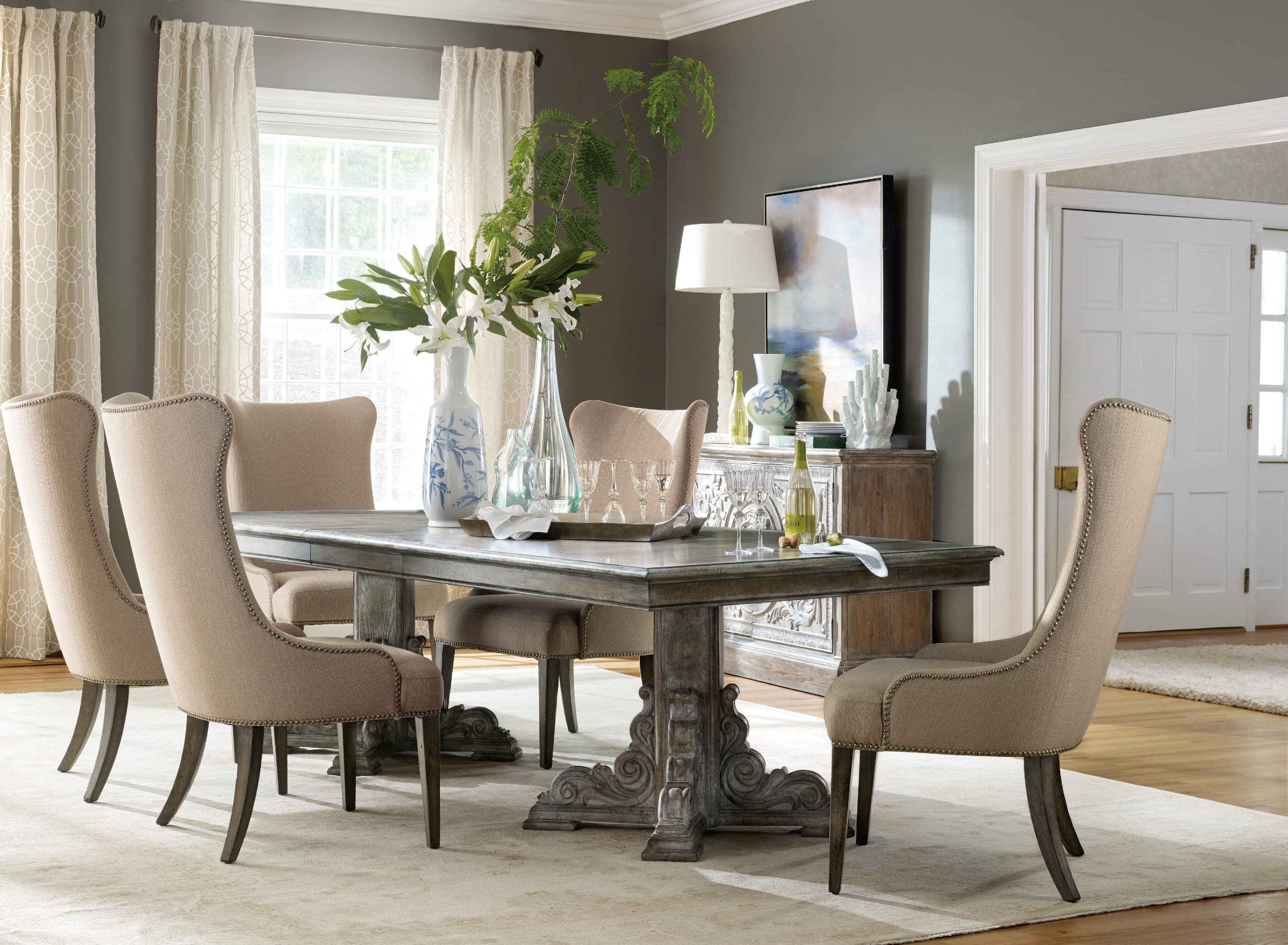 Fashionable Extendable Dining Table Sets Intended For Hooker Furniture True Vintage 3 Piece Extendable Dining Table Set (View 7 of 25)