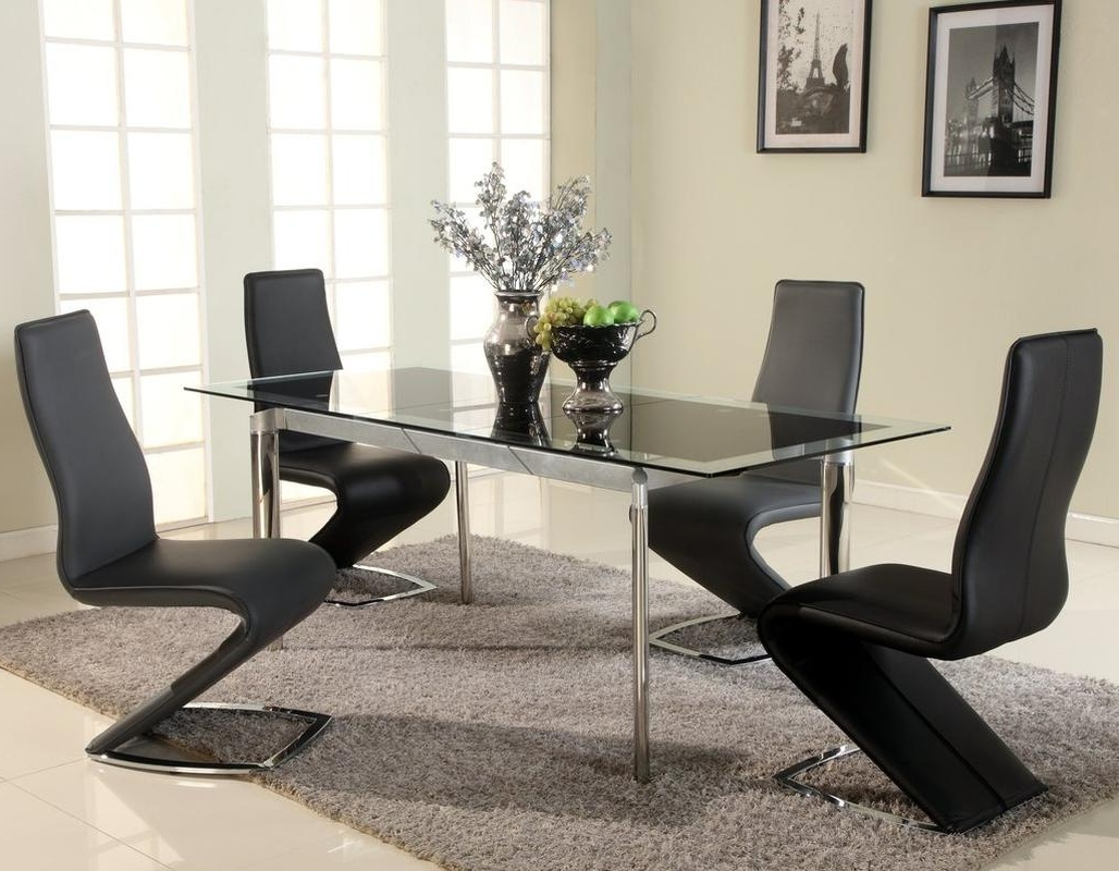 Fashionable Extendable Glass Top Designer Modern Dining Room Baltimore Maryland In Black Extendable Dining Tables Sets (View 14 of 25)