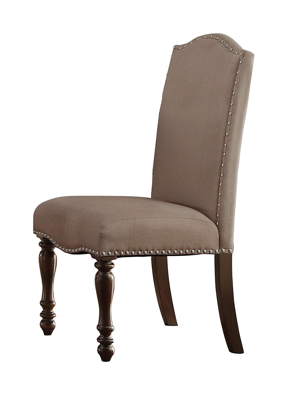 Fashionable Fabric Dining Chairs Intended For Homelegance Benwick Upholstered Fabric Dining Chairs With Nail Heads Trim  Beige, Set Of  (View 20 of 25)