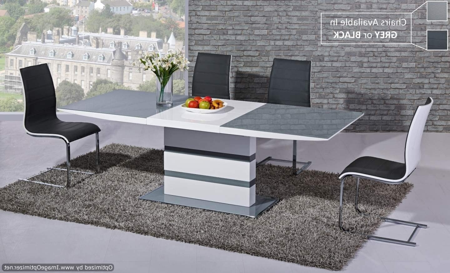 Fashionable Furniture Mill Outlet Arctic Extending Dining Table In Grey From Pertaining To White High Gloss Dining Chairs (View 7 of 25)