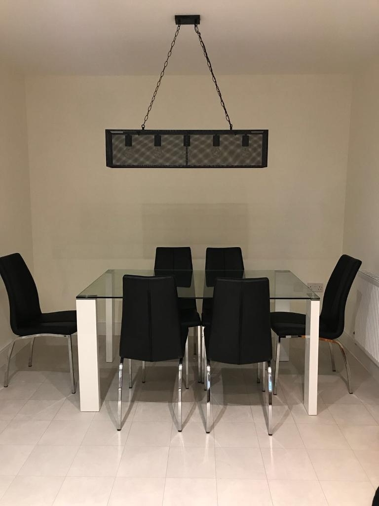 Fashionable Glass Dining Table & 6 Chairs (View 6 of 25)