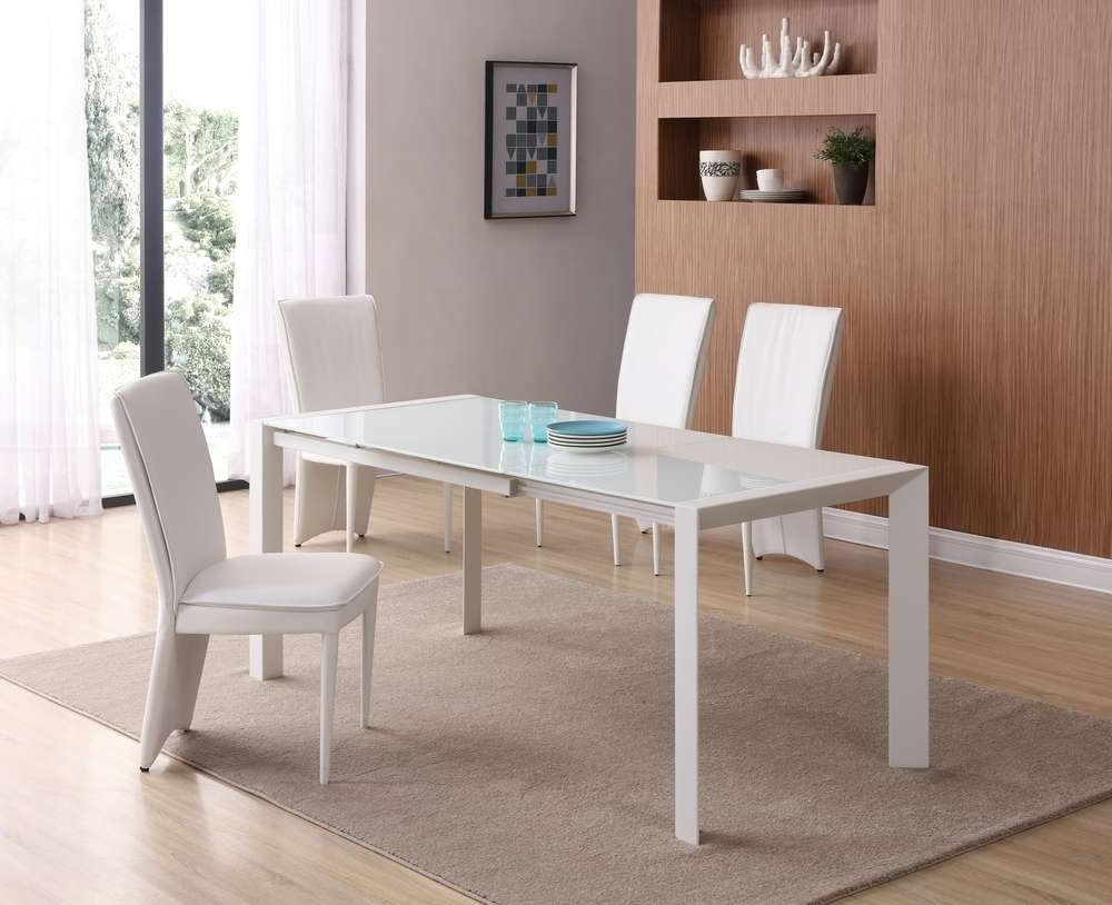Fashionable Glass Dining Tables White Chairs Regarding Matt White Glass Dining Table And 4 White Chairs – Homegenies (View 11 of 25)