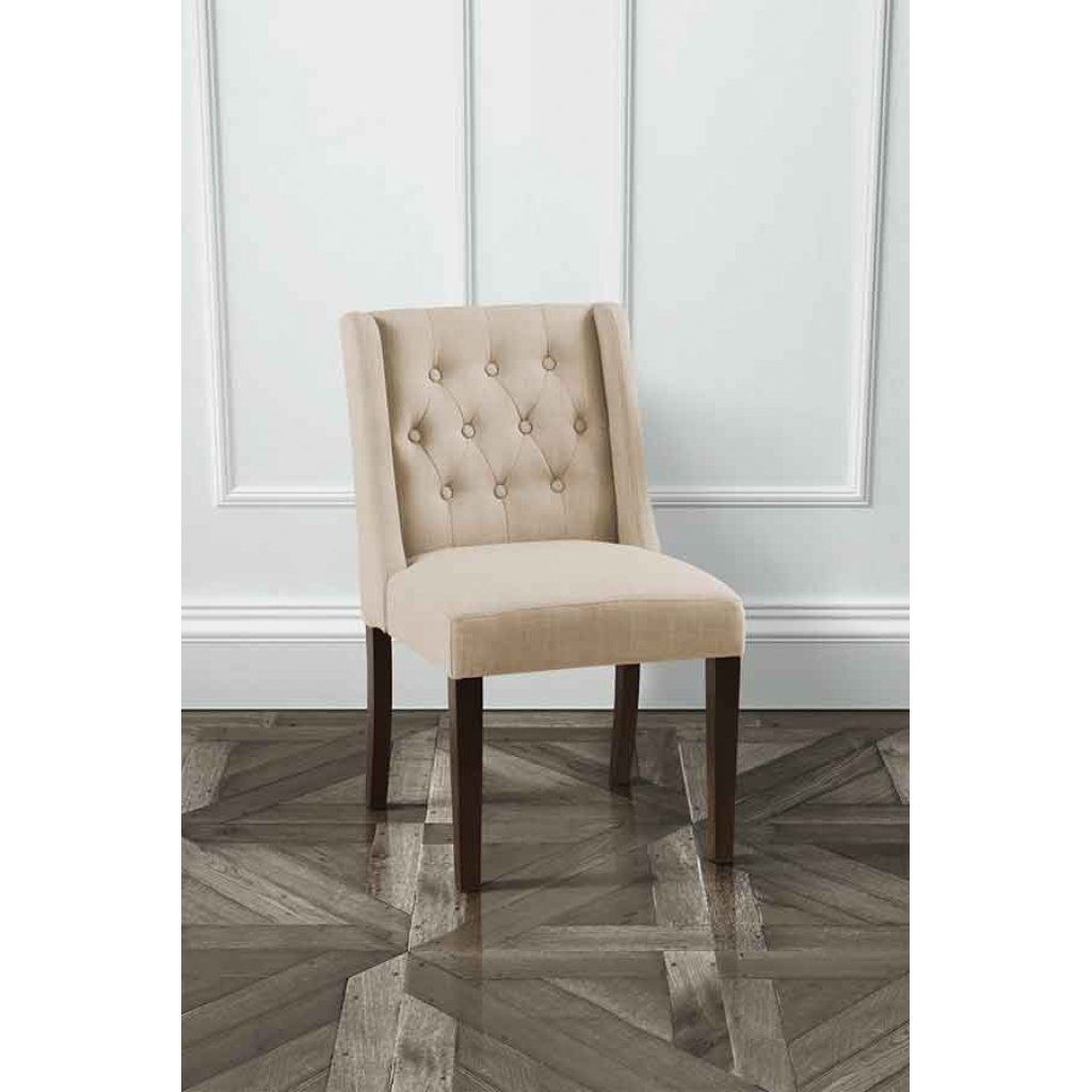 Fashionable Huxley Beige Wing Button Back Dining Chair With Black Legs – My Inside Button Back Dining Chairs (View 10 of 25)