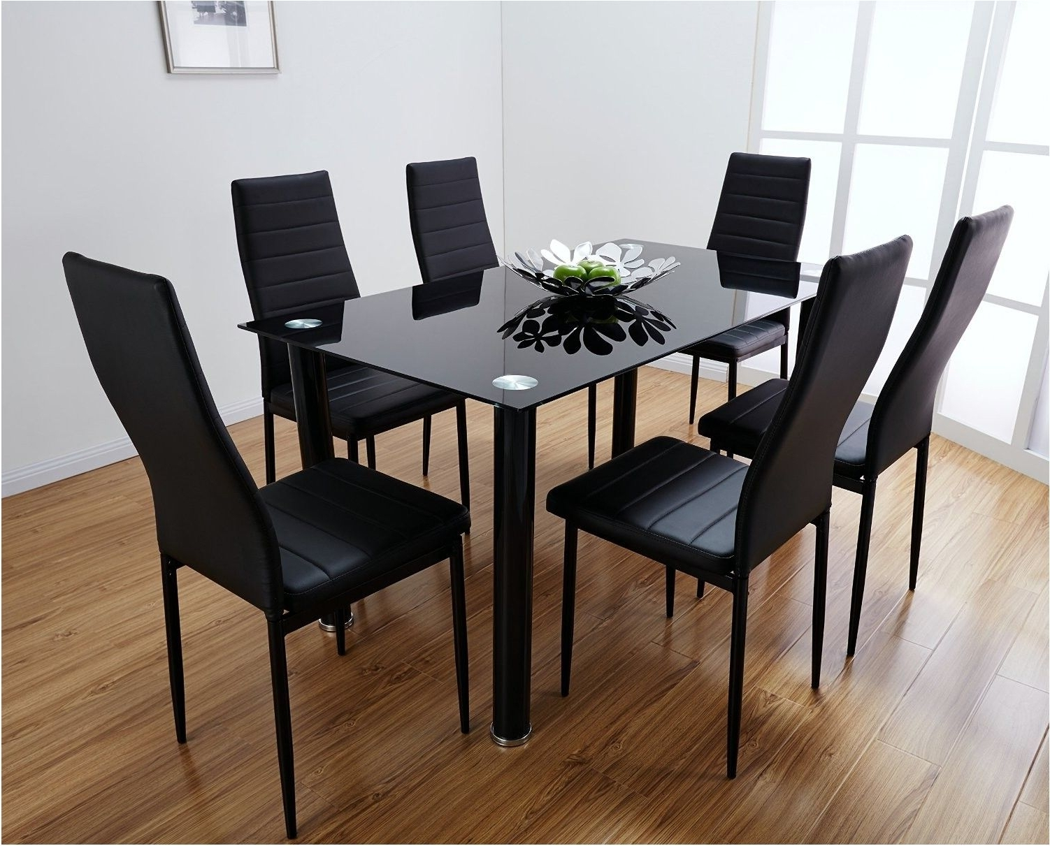 Fashionable Incredible Black Glass Dining Table Set With 4 Faux Leather Chairs Regarding Glass Dining Tables And Leather Chairs (View 5 of 25)