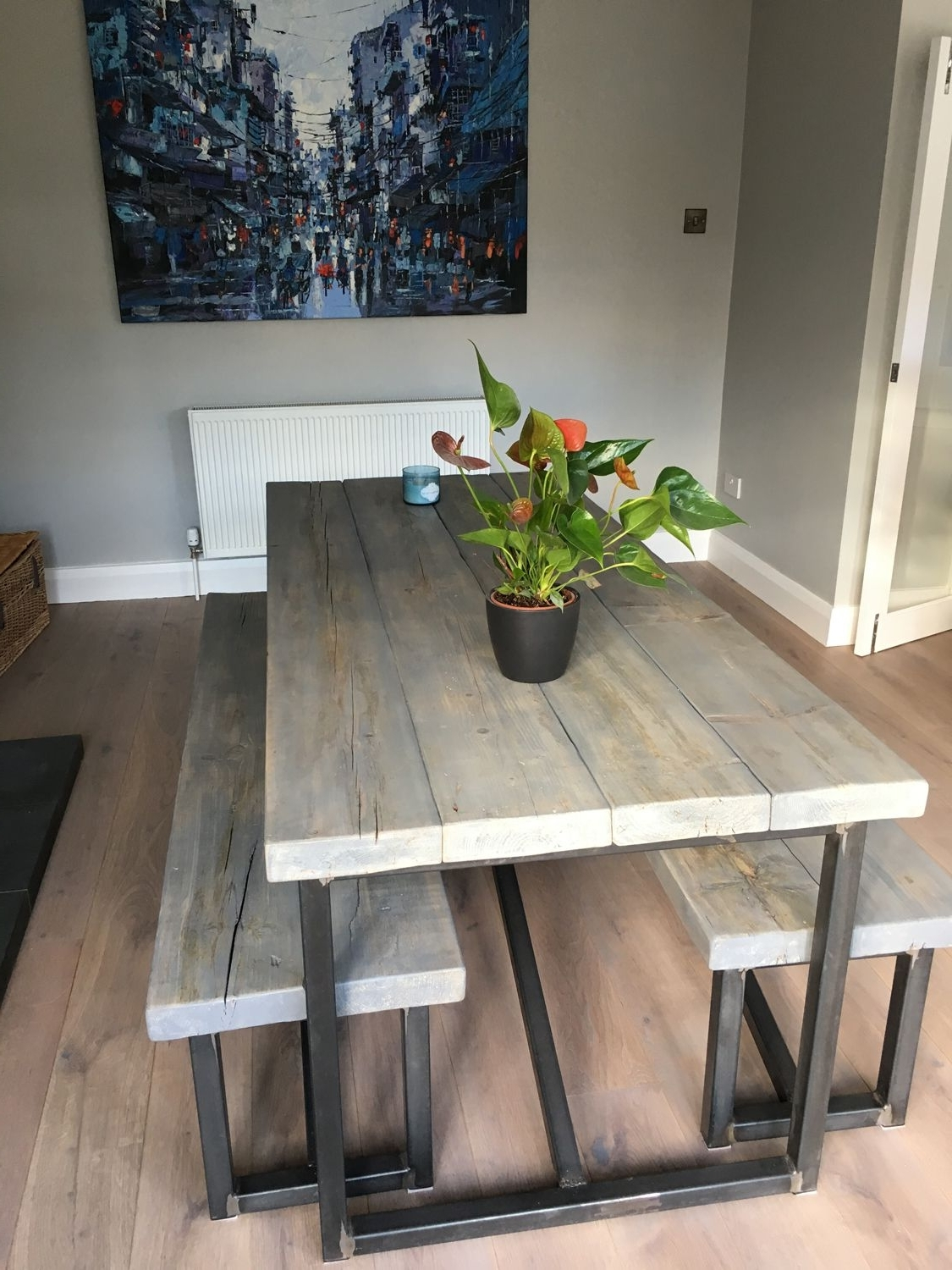 Fashionable Industrial Style Reclaimed Wood Grey Washed Dining Table And Benches Inside Industrial Style Dining Tables (View 2 of 25)