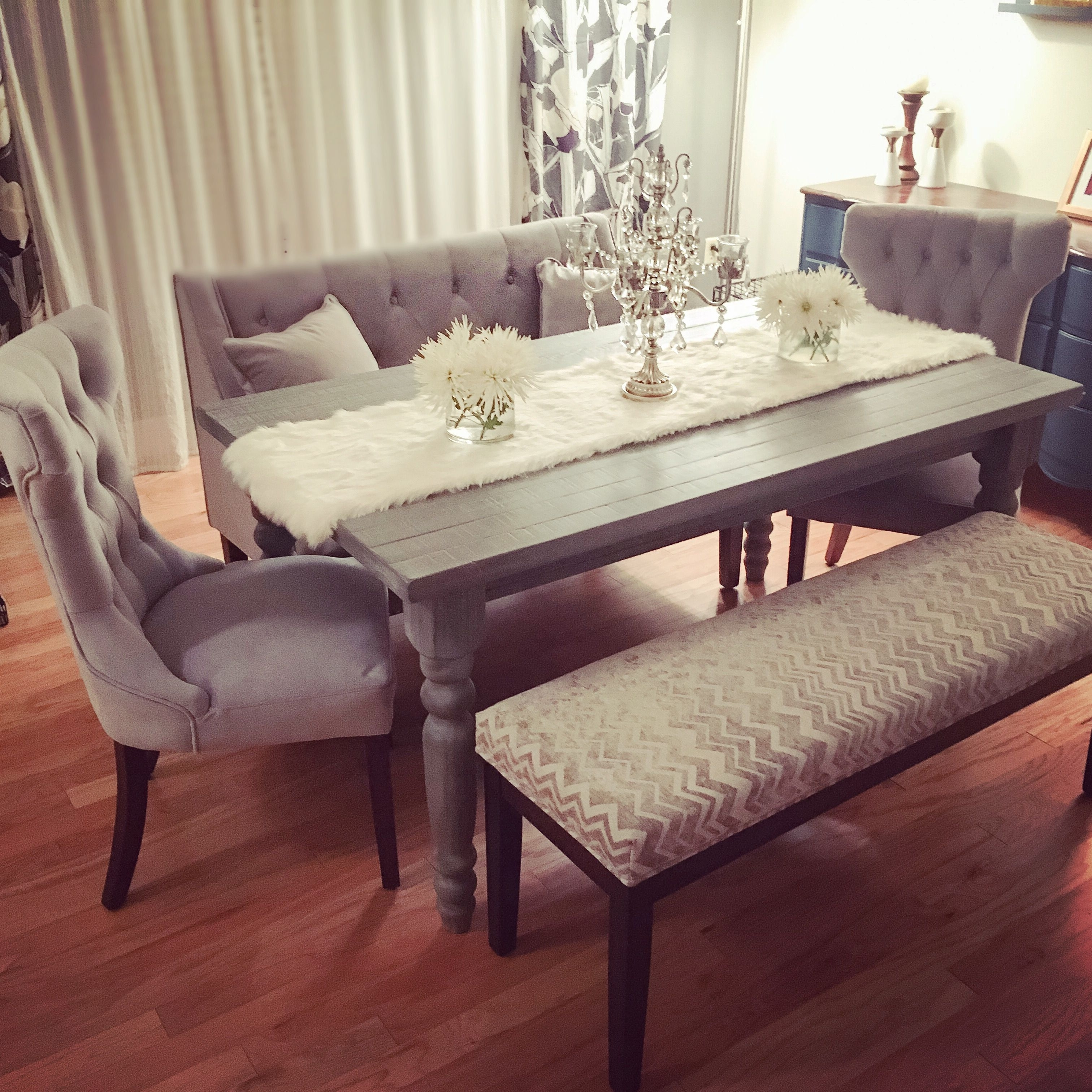 Fashionable Lassen 5 Piece Round Dining Sets With My New Grey Rustic Chic Dining Table Set (View 3 of 25)