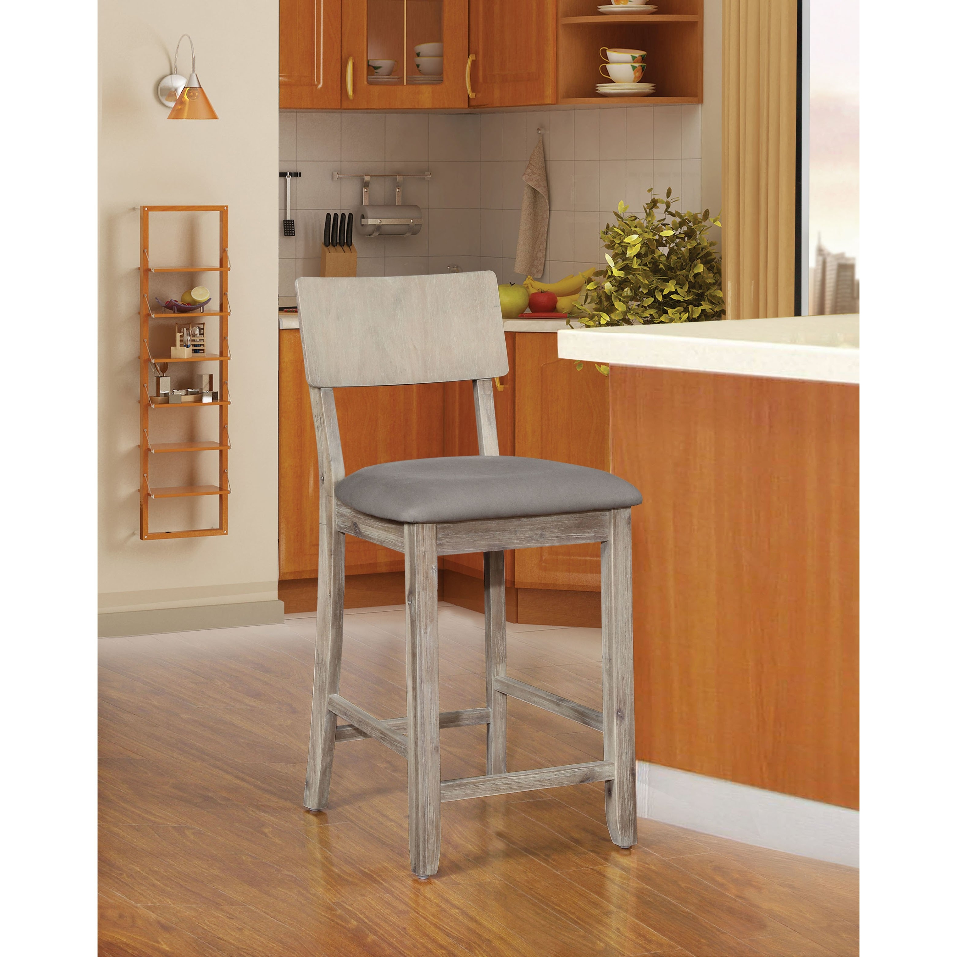 Fashionable Laurent 7 Piece Counter Sets With Upholstered Counterstools With Regard To Shop Loren Gray Wash Counter Stool – On Sale – Free Shipping Today (View 10 of 25)