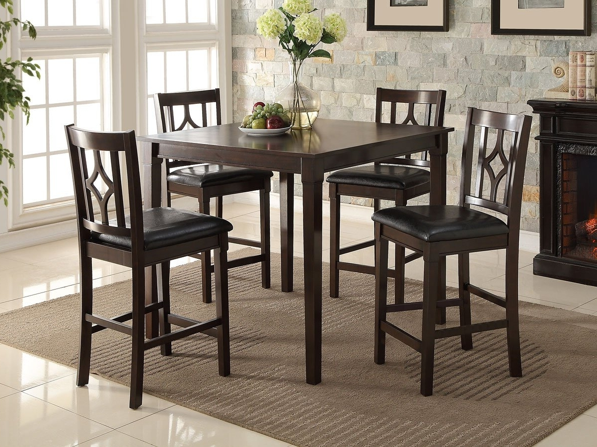 Fashionable Leon 7 Piece Dining Sets Pertaining To Leon 5 Piece Counter Height Dining Set Crown Mark Furniture (View 4 of 25)