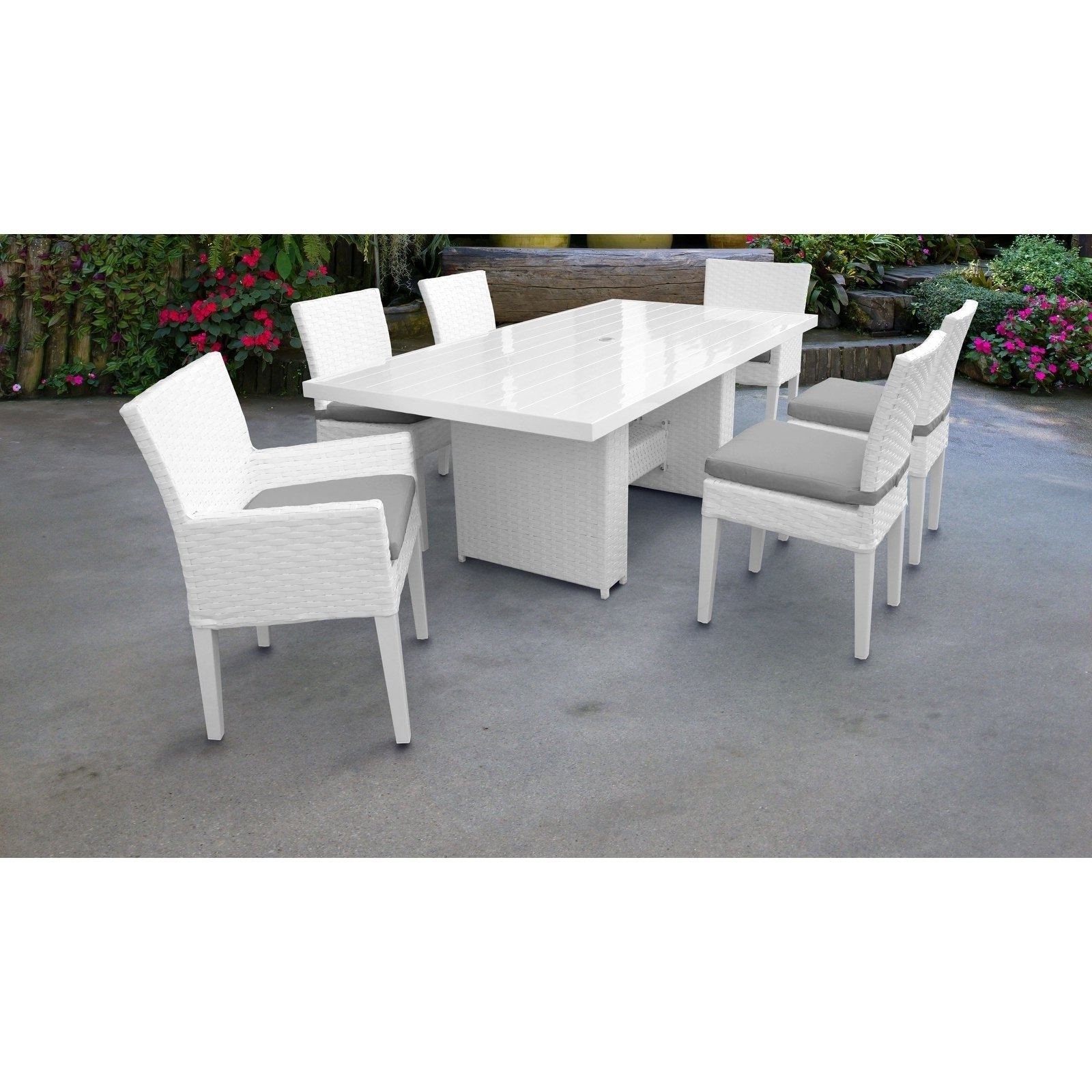 Fashionable Monaco Rectangular Outdoor Patio Dining Table With With 4 Armless In Monaco Dining Tables (View 4 of 25)