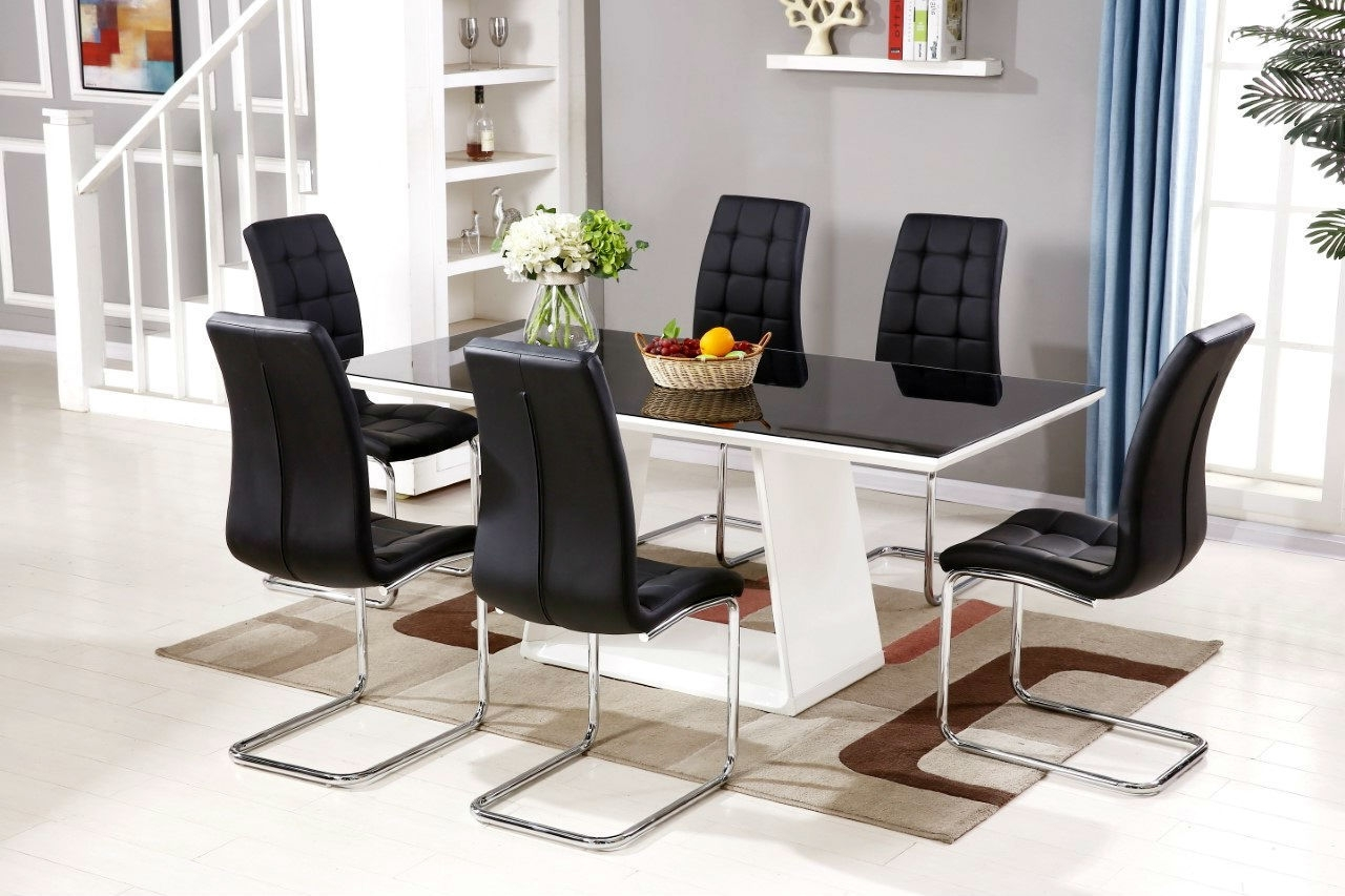 Fashionable Murano Black/white High Gloss Glass Dining Table Set And 6 Leather Inside Black Gloss Dining Tables And 6 Chairs (View 11 of 25)