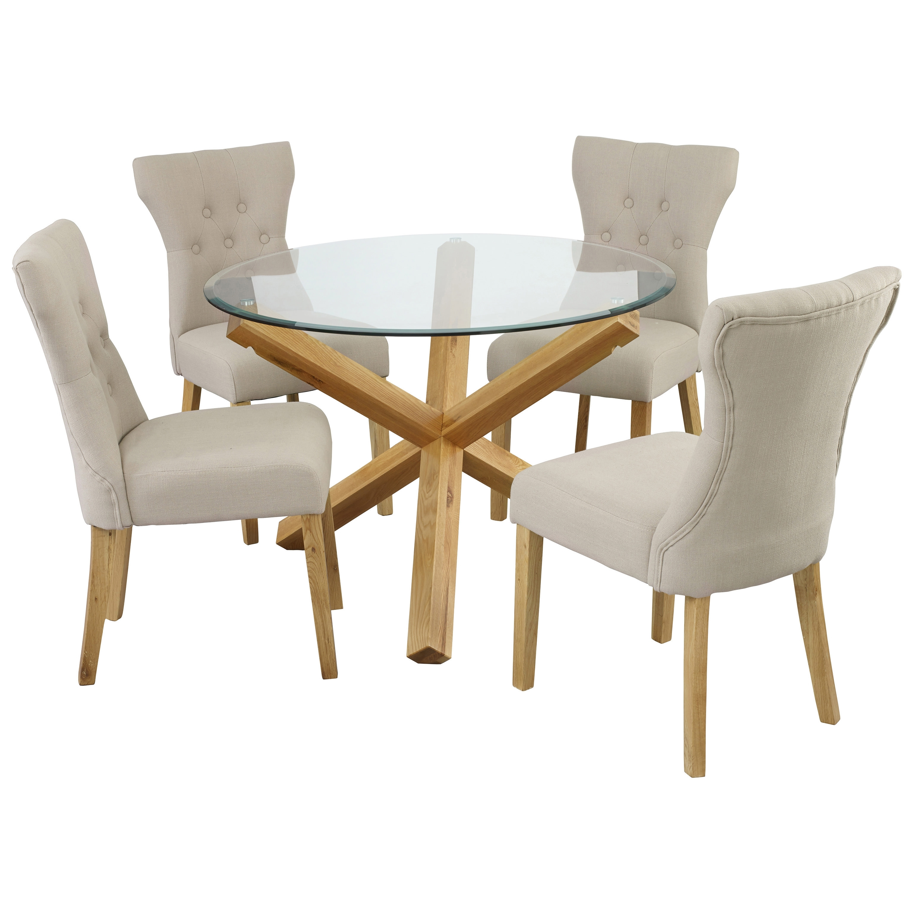 Fashionable Oak & Glass Round Dining Table And Chair Set With 4 Fabric Seats In Glass Dining Tables With Oak Legs (View 6 of 25)