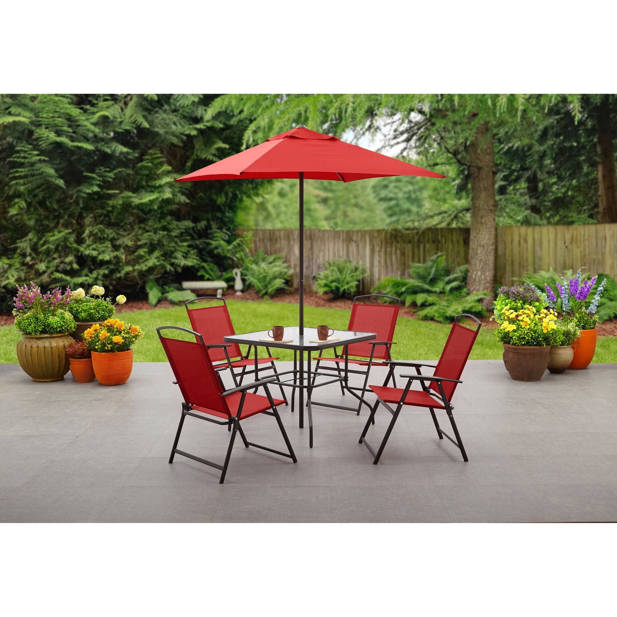 Fashionable Outdoor Dining Table And Chairs Sets With Regard To Mainstays Albany Lane 6 Piece Folding Dining Set, Multiple Colors (View 5 of 25)