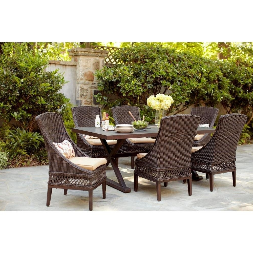 Fashionable Outdoor Tortuga Dining Tables In Woodbury 7Pc Patio Brown Wicker Dining Set (View 21 of 25)