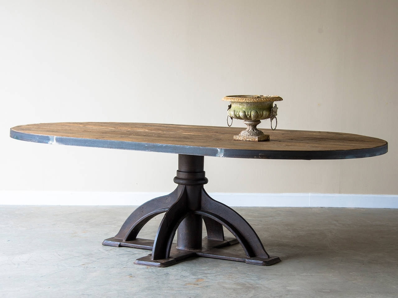 Fashionable Oval Reclaimed Wood Dining Tables Intended For Oval Table, Industrial Fitting Base, Holland, Circa 1920, Reclaimed (View 11 of 25)