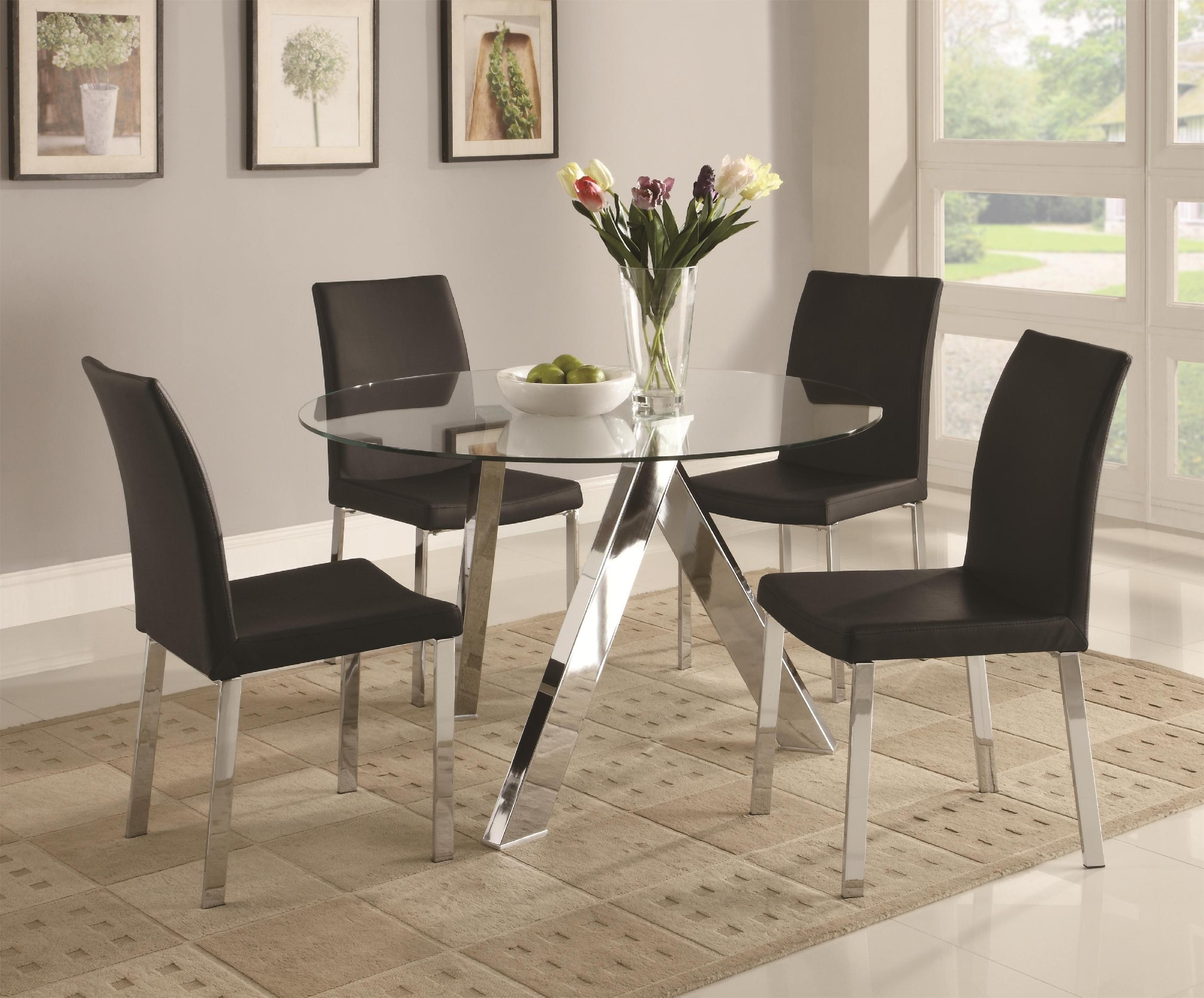 Fashionable Perth Glass Dining Tables Inside Dining Room. Round Glass Top Dining Table (View 5 of 25)