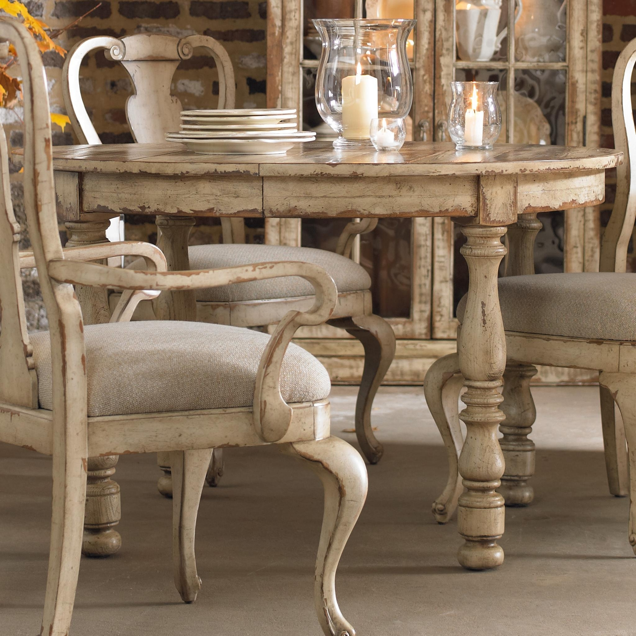 Fashionable Shabby Chic Extendable Dining Tables Pertaining To Hooker Furniture Wakefield Round Leg Dining Table With Expandable (View 25 of 25)