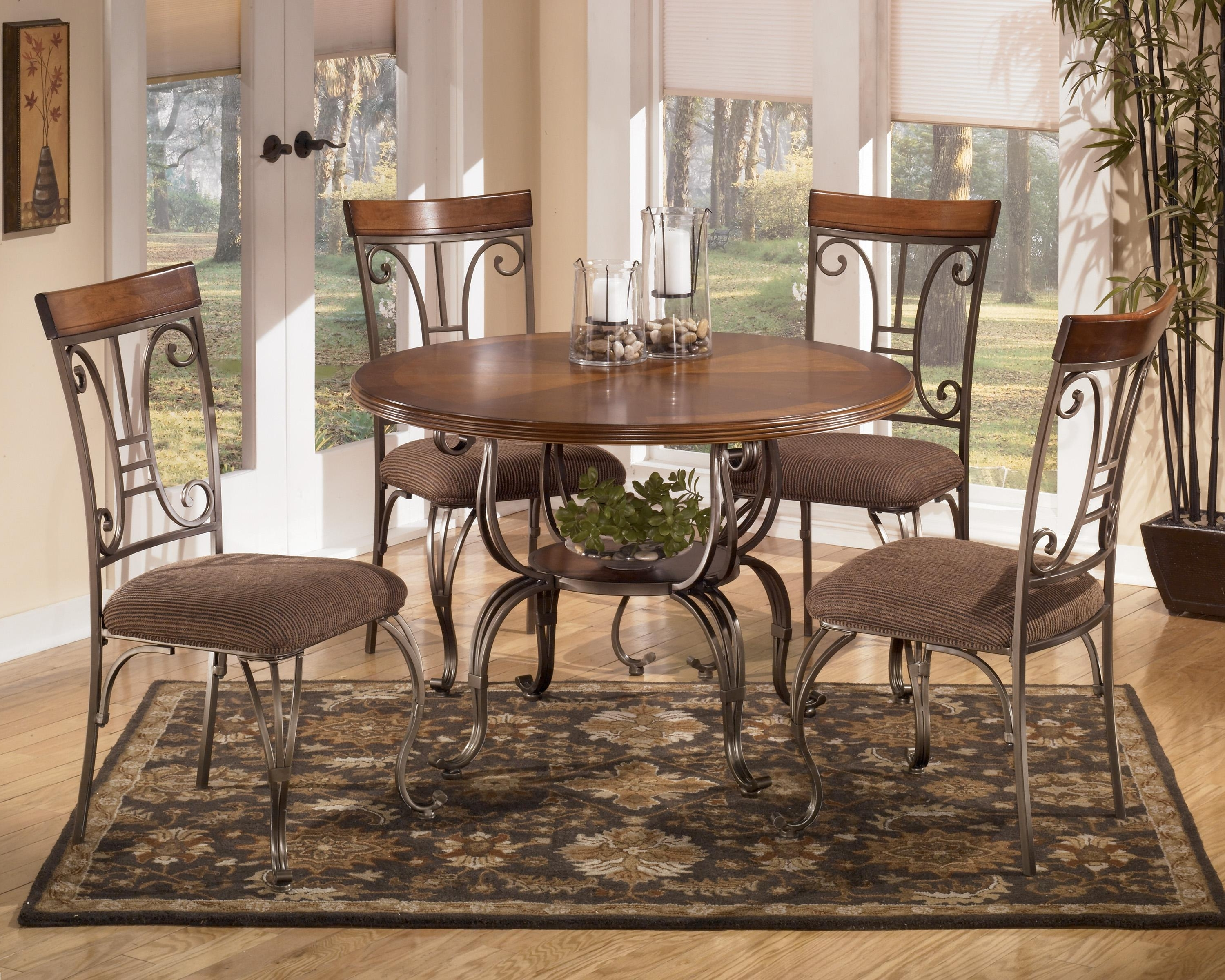 Fashionable Signature Designashley Plentywood 5 Piece Round Dining Table Set Intended For Jaxon 5 Piece Round Dining Sets With Upholstered Chairs (View 25 of 25)