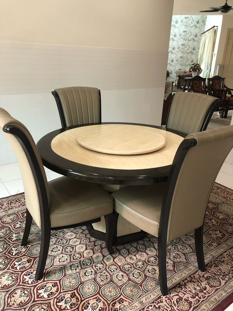 Fashionable Solid Marble Dining Tables For Solid Marble Dining Table Set With 4 Chairs (Free Carpet) , Home (View 7 of 25)
