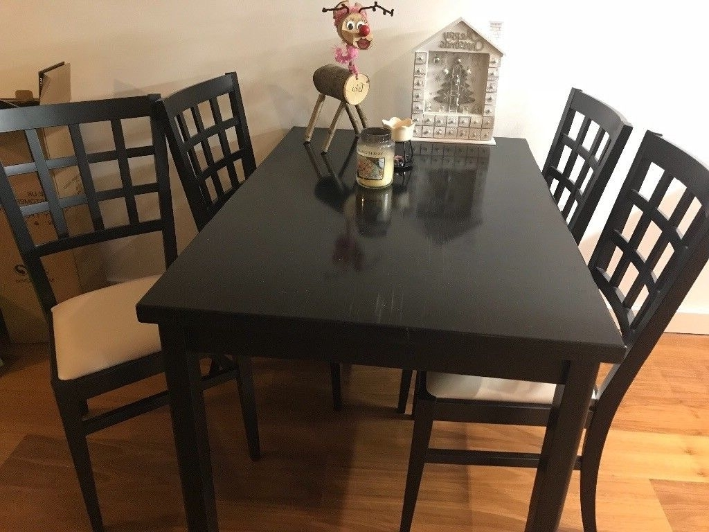 Fashionable Varnished Black Wooden Dining Table And Chairs With Leather Seat With Regard To Dark Wooden Dining Tables (View 14 of 25)